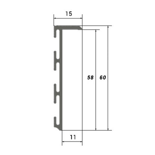 Схема плинтуса скрытого монтажа 60 мм